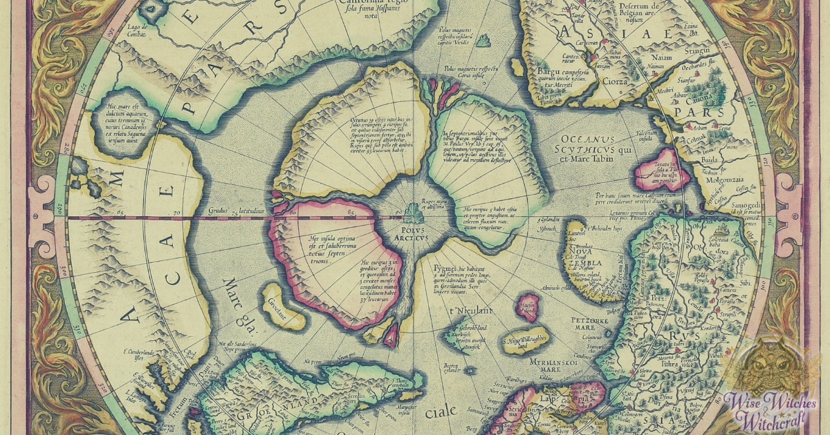 Detail from a 1597 map by Abraham Ortelius of Amsterdam, showing Hyper Borei in the nothern polar area